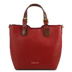Leather Tote Handbag Red for Woman - Tuscany Leather -
