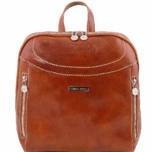 Leather Backpack for Woman Manila Honey - Tuscany Leather -