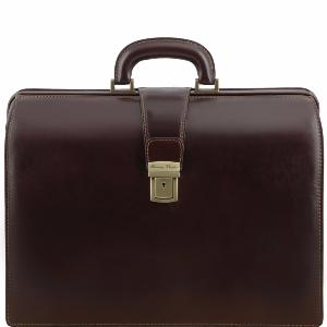 Leather Doctor Briefcase Dark Brown - Tuscany Leather -