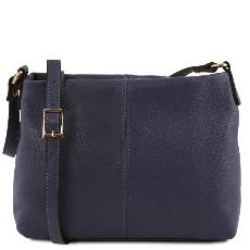 Soft Leather Shoulder Bag Blue- Tuscany Leather -