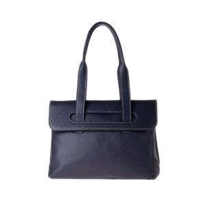 Leather Shoulder Bag with 2 Compartments Blue  - Dudu Bags