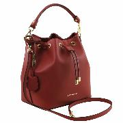 Leather Secchiello Bag for Women Red - Tuscany Leather –
