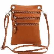 Small Leather Cross Shoulder bag for Men or Women Honey-Tuscany leather-