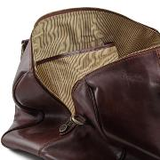 Travel Leather Duffle Bag with Rear Pocket - Tuscany Leather -