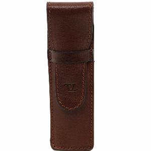 Leather Pen Holder Brown  -Tuscany Leather-