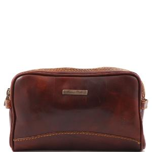 Leather Toilet Bag 2 Separate Compartments Brown - Tuscany Leather -