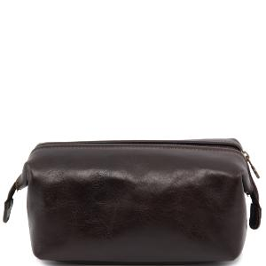 Leather Toilet Bag Smarty Dark Brown -Tuscany Leather-