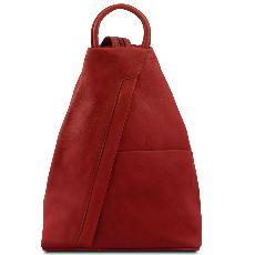Leather Backpack Red for Woman - Tuscany Leather -