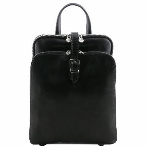 Leather Backpack 3 Compartments Black - Tuscany Leather -