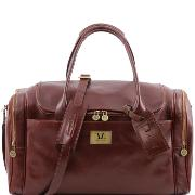 Travel Leather Bag with Side Pockets Brown - Tuscany Leather -