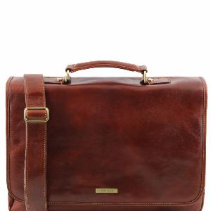 Soft Leather Briefcase for Laptop Brown - Tuscany Leather