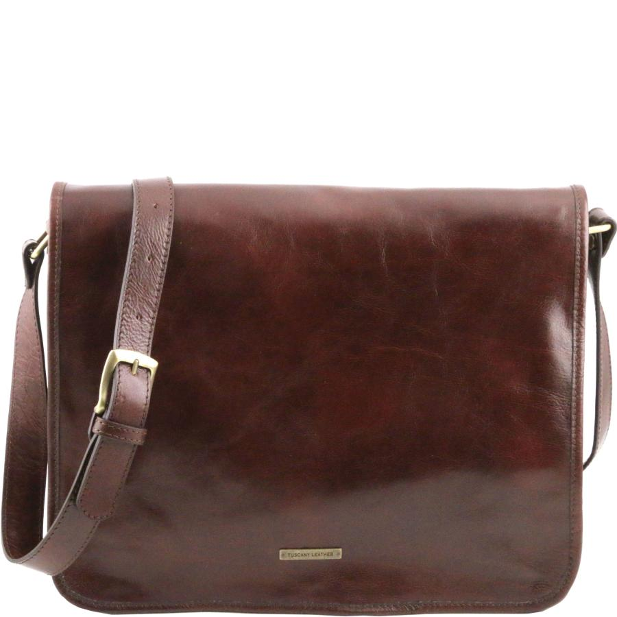Tuscany Leather Messenger Double Besace en Cuir Marron