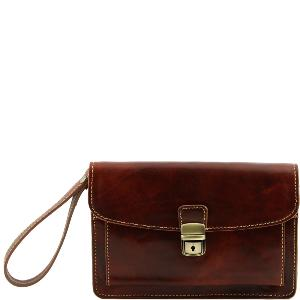 Leather Wrist Bag for Men Brown - Tuscany Leather -