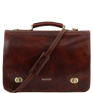 Leather Briefcase 2 Compartments Pockets Brown  - Tuscany Leather –