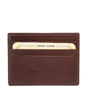 Leather Credit Card Holder Brown -Tuscany Leather-