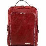 Leather Laptop Backpack Red - Tuscany Leather -