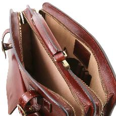 Leather Briefcase with Pockets Men or Women Honey - Tuscany Leather –