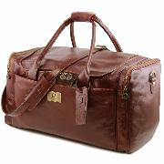 Travel Leather Bag with Side Pockets - Tuscany Leather -