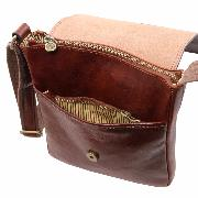 Leather Cross body Bag for Men with Pockets Brown -Tuscany Leather-