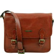 Leather Messenger Bag for Men or Women Honey - Tuscany leather -