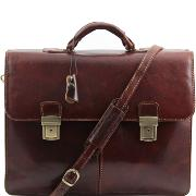 Leather Briefcase 2 Compartments and Lock Brown - Tuscany Leather -