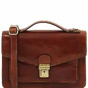 Leather Cross body Bag for Men Brown - Tuscany Leather –