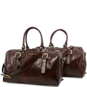 Leather Travel Set Brown - Tuscany Leather -