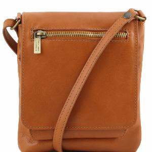 Unisex Soft Leather Shoulder Bag Cognac - Tuscany Leather