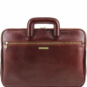 Leather Briefcase 2 Compartments Brown - Tuscany Leather -