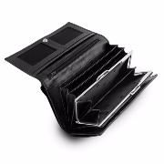 Leather Wallet with Pockets for Women Black -DV-