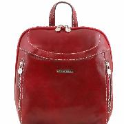 Leather Backpack for Woman Manila Red -Tuscany Leather-