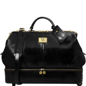 Leather Travel Bag with Wheels Black - Tuscany Leather -