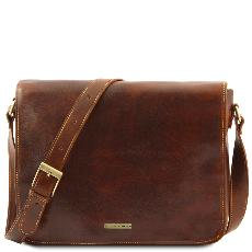 Leather Messenger Bag for Men Brown- Tuscany Leather –