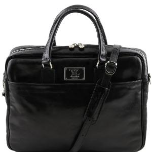 Leather Laptop Briefcase Black - Tuscany Leather -