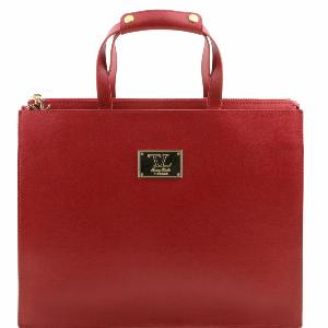 Leather Briefcase for Women Red -Tuscany Leather -
