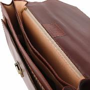 Leather Briefcase with Compartments Black -Tuscany Leather -