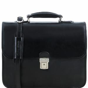 Leather Briefcase 3 Compartments Black - Tuscany Leather -