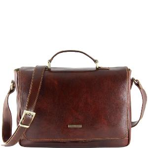 Leather briefcase for Laptop Brown-Tuscany Leather-