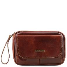 Leather Wrist Bag for Men Brown  -Tuscany Leather-