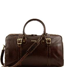 Travel Leather Duffle Bag Small size Dark Brown - Tuscany Leather -