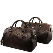 Leather Travel Set Lisbona Dark Brown- Tuscany Leather -