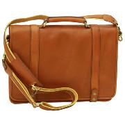Leather Briefcase with Several Compartments Brown -Old Angler-