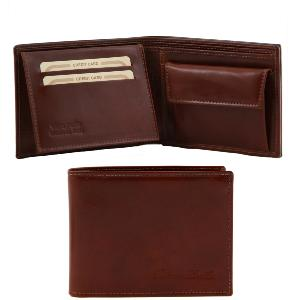 Leather Wallet with Coin Holder for Men Brown -Tuscany Leather-