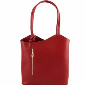 Leather Convertible Backpack Woman Red - Tuscany Leather -