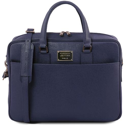 Leather Laptop Bag Blue - Tuscany Leather –