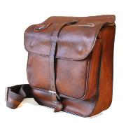 Vinage Leather Messenger Bag for Men Brown -Pratesi -