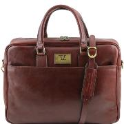 Leather Laptop Briefcase Brown - Tuscany Leather -