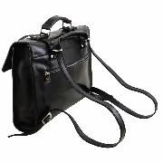Leather Briefcase Vintage for Laptop Black  - Tuscany Leather -