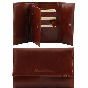 Leather Purse for Women 5 Compartments Brown -Tuscany Leather-