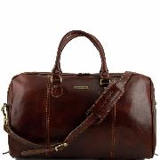 Travel Leather Duffle Bag Paris - Tuscany Leather - Dark Brown